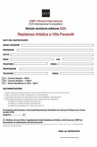 modulo iscrizione Residenza Artistica Villa Pavarotti CIMP 2020